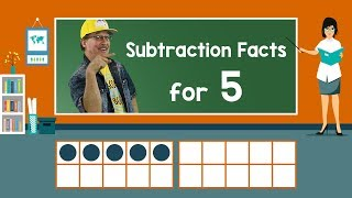 Practice Our Subtraction Facts For 5 | Subtraction Song | Math Song For Kids | Jack Hartmann