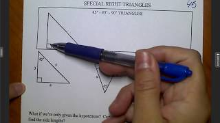 Unit 6 Geometry Trig  Special Right Triangles
