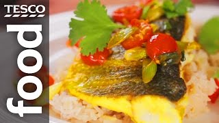 How to cook pan-fried sea bass with coconut rice