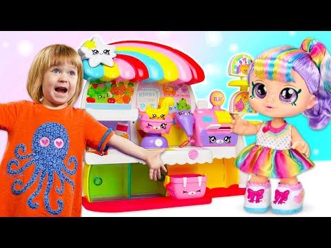 Игры в куклы для детей: Маша Капуки Кануки и малышка Бьянка распаковывают Kindi Kids Rainbow Kate!