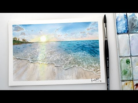 Watercolor SEASCAPE - sea beach with sunset painting easy