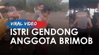 Viral Video Istri Gendong Anggota Brimob yang Sakit karena Kecelakaan