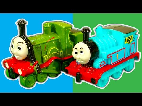 , title : 'Thomas Mystery Knockoff Wooden Railway Surprise Eggs & Faceless James Toby Daisy'