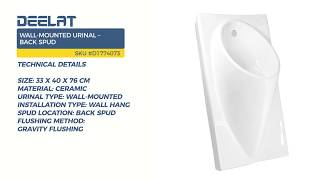 Wall-Mounted Urinal – Back Spud - Size 33 x 40 x 76 cm