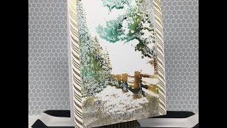 Watercolored Scene using Distress Inks and Heat Embossing