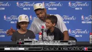 Tim Duncan's Kids Answer Question At Presser