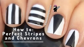 How To: Easy Perfect Stripes And Chevron Nails