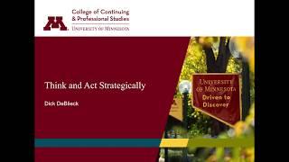 U of M Webinar: Think and Act Strategically