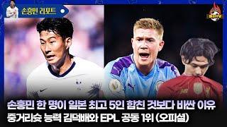 [현지반응] 'EPL 최고 슈터' 손흥민, 더브라이너와 공동 1위! 몸값은 일본 TOP5 더한 것보다 높아~
