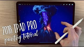 2018 iPad Pro and Apple Pencil 2 painting tutorial - Volcanic Lightning