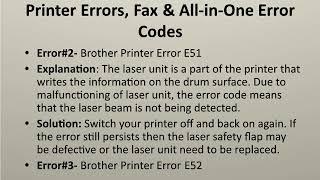List of 101 Brother Printer Errors Code