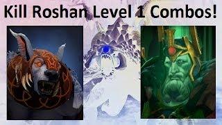 Dota 2 Kill Roshan lvl 1 Combos #1 - Wraith king and Ursa