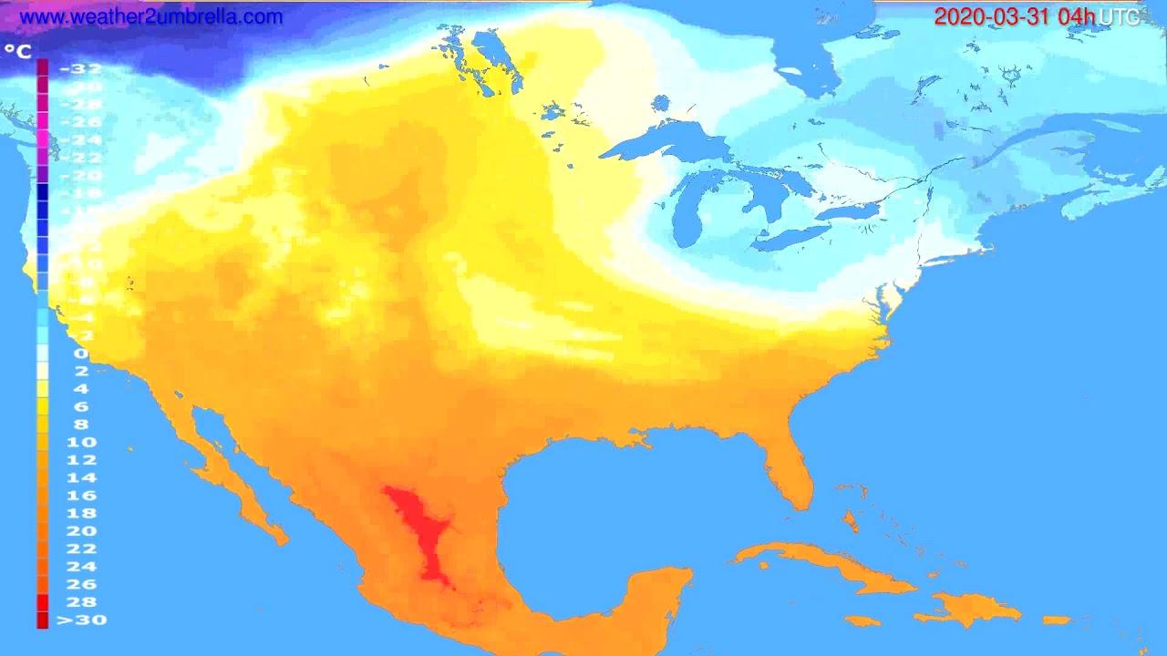 Temperature forecast USA & Canada // modelrun: 12h UTC 2020-03-30