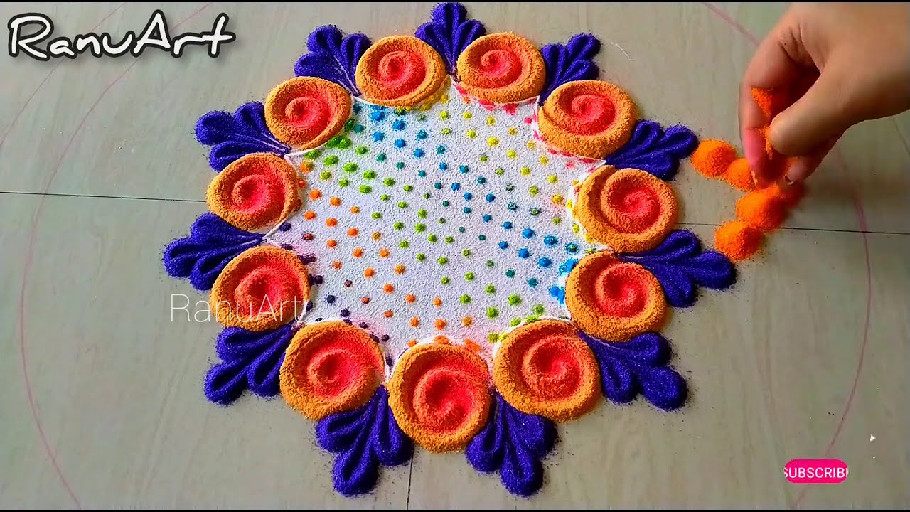 muti colored hoil rangoli design by ranu art