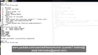 PL/SQL: Cursors using FOR loop