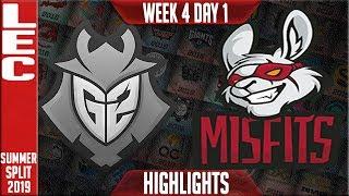 G2 vs MSF Highlights | LEC Summer 2019 Week 4 Day 1 | G2 Esports vs Misfits Gaming
