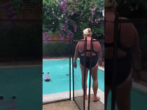 2yr old twins - unexpectedly brown into their backyard pool fully clothed and demonstrating their self rescue skills