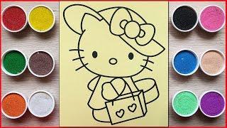 TÔ MÀU TRANH CÁT HELLO KITTY ĐI MUA SẮM - Colored Sand Painting Kitty Shopping (Chim Xinh)