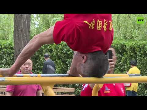 Fit and healthy | Chinese pensioners demonstrate stunning gym skills