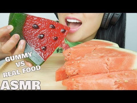 ASMR GUMMY vs. REAL FOOD *GIANT WATERMELON GUMMY (CRUNCHY CHEWY EATING SOUNDS) | SAS-ASMR