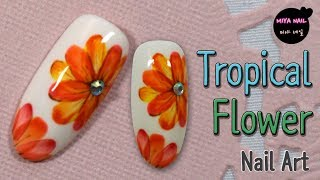 Tropical Flower Nail Art (Painting Flowers, Tutorial)