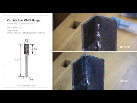 Burgbuytool كربيد Burr SB-3 Cylinderical End Cut Omni Range Head D 3/8 × 3 / 4L، 1/4 عرقوب، 2-1 / 2 بوصة طول كامل