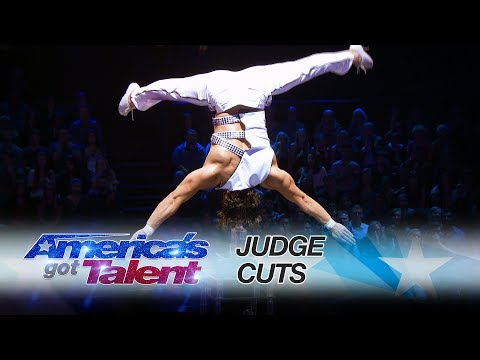 Yosein Chi: Acrobat Performs Dangerous Routine Surrounded by Daggers - America's Got Talent 2017