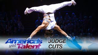 Yosein Chi: Acrobat Performs Dangerous Routine Surrounded by Daggers - America