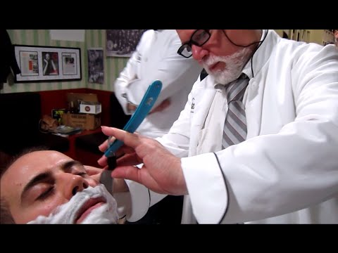 💈 Old School Italian Barber – Shave with Straight Razor and hot towel – ASMR intentional sounds
