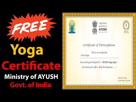 Free Yoga Certificate - Ministry of AYUSH - Govt of India - Govt ...