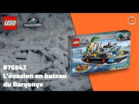 Vidéo LEGO Jurassic World 76942 : L'évasion en bateau du Baryonyx