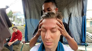 💈$.60 STREET BARBER HAIRCUT, HEAD MASSAGE & Straight RAZOR SHAVE By Aji 🇮🇩 Bandung Indonesia ASMR