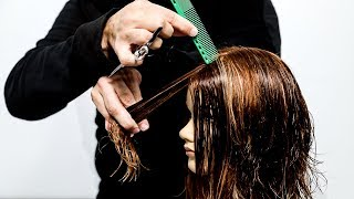 Mid Length Hair With Layers And Curtain Bangs | Hair Tutorial
