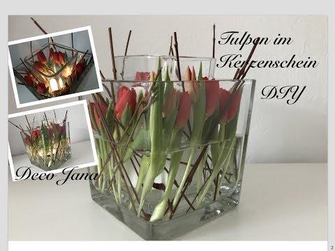DIY: Frühlingsdeko Tulpen im Kerzenschein, Glas in Glas Tischdeko / Deko Jana