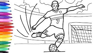 Sport Coloring Pages for Kids, How to Draw and Color a Soccer Player, Soccer Football вљЅ