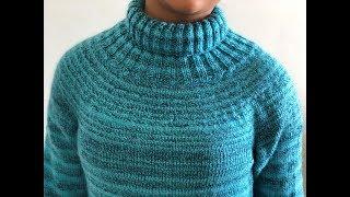 Knitting Yoke Sweater With High Neck   बंद गले का स्वेटर बुनाई