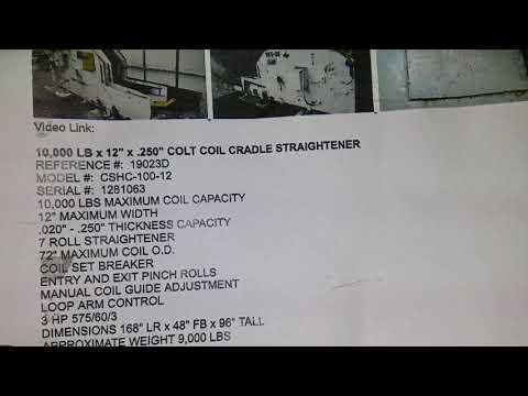 """10,000 LB x 12"""" x .250"""" COLT COIL CRADLE STRAIGHTENER"""