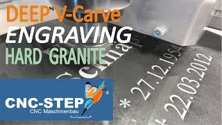 CNC Router - Granite grave stone - processing an inscription in tough Nero Assoluto granite.