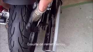 Changement de pneus moto sur HONDA Shadow