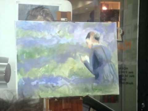 Demosntração de pintura com o professor Marshall.