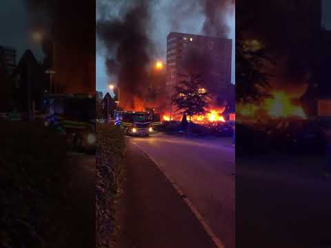 Dozens Of Cars Set On Fire In Western Sweden
