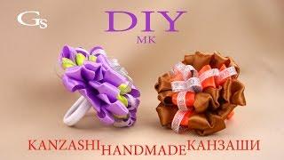 Завиточки. Новая резинка Канзаши, новый цветок. DIY/МК/New elastic Kanzashi, new flower.