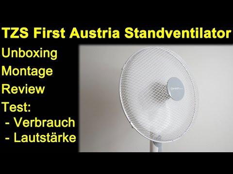 TZS First Austria Standventilator 40cm - Unboxing, Montage, Review, Test Lautstärke & Verbrauch