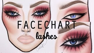 HOW TO DRAW LASHES ON A FACECHART  | cassieeMUA