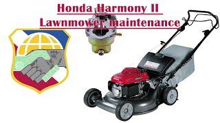 Honda Harmony II Lawnmower wont start - HRR216 mower Replace Recoil Pull Cord repair carb carburetor