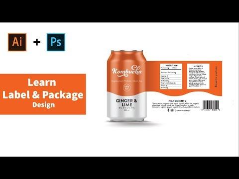 Package design tutorial label design Kombucha drink Illustrator & Photoshop