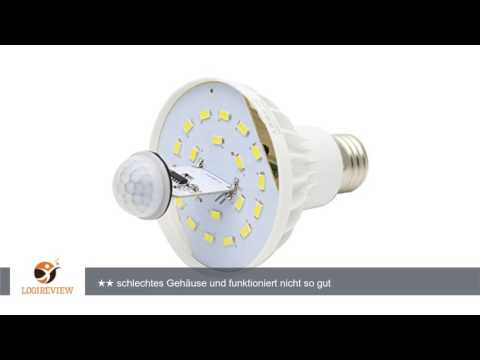 9W E27 LED Sensor Birne Lampe Leuchtmittel Kaltweiß Licht mit Bewegungsmelder PIR Bewegungssensor