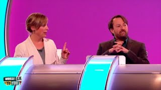 Which WILTY panel member did Mel Giedroyc have a snog with? - Would I Lie to You? [CC-EN,ES,NL]