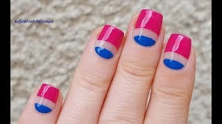 TAPE NAIL ART #4 / Pink & Blue Negative Space Nails