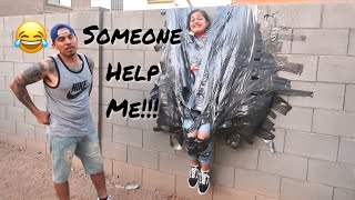 We Taped Her To The Wall!!!